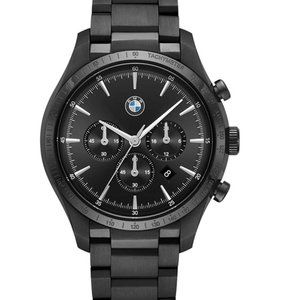 NWT BMW Classic Black Steel Chronograph Watch